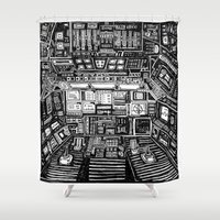 cabin Shower Curtains featuring Lost cabin 666 by Marcelo Romero