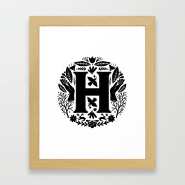 Letter H monogram wildwood Framed Art Print