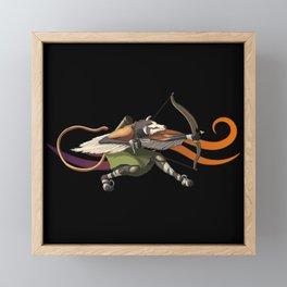 Man Wolf Archer Hunter Cartoon Character Framed Mini Art Print