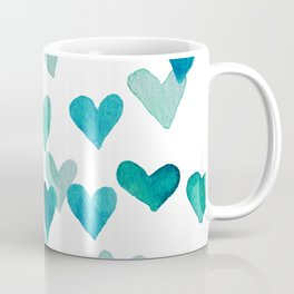Valentine's Day Watercolor Hearts - turquoise Coffee Mug