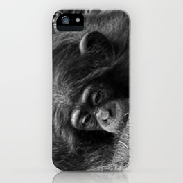 1dca8671 Baby Chimpanzee Cuddling Close to Mom Black and White iPhone Case
