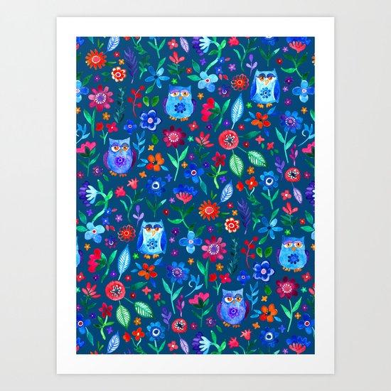 Little Owls and Flowers on deep teal blue Art Print