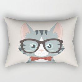 Grey Tabby Hipster Cat Rectangular Pillow