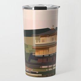 Geometric Kinkakuji, Golden Pavilion Kyoto Japan Travel Mug