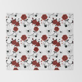 Black Widow Spider with Red Rose Throw Blanket