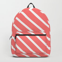 Watermelon Pink Diagonal Stripes Backpack