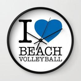 I LOVE BEACH VOLLEYBALL Wall Clock
