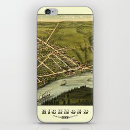 Aerial View of Richmond, Maine (1878) iPhone Skin