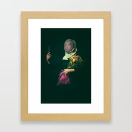 Noble Girl Athlete with Bouquet of Flowers  Framed Art Print