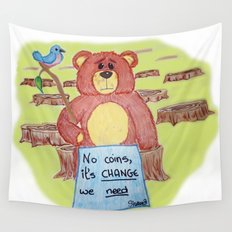 Sad bear & friend Wall Tapestry