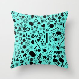Bits And Pieces On Cyan Blue Throw Pillow