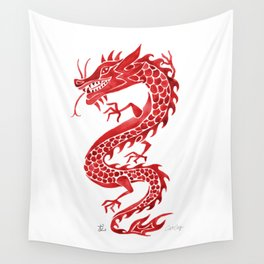 Chinese Dragon – Crimson Palette Wall Tapestry