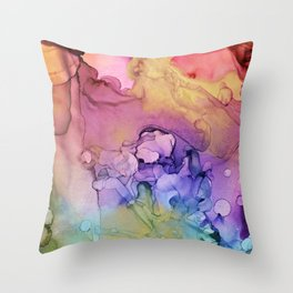 Colorful Abstract Ink Swirls with Gold Marble Throw Pillow