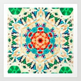 Psychedelic Mandala (Green) Art Print