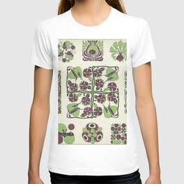 purple and green retro floral pattern T-shirt