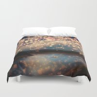 hand Duvet Covers featuring Love Wish Lanterns by Paula Belle Flores