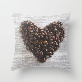 Coffee beans heart Throw Pillow
