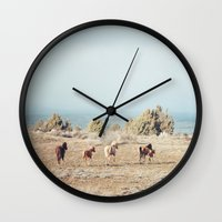 oregon Wall Clocks featuring Oregon Wilderness Horses by Kevin Russ