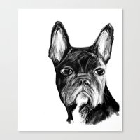 french bulldog Canvas Prints featuring French Bulldog by James Peart