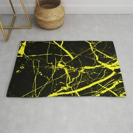 Yellow Marble Pattern - Abstract, black and yellow Rug