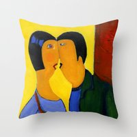 couple Throw Pillows featuring couple by agnes Trachet