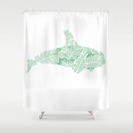 Green Monstera Whale Shower Curtain