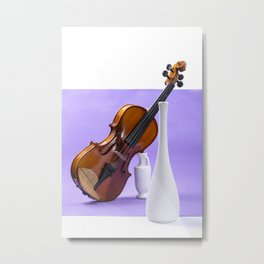 Still life with violin and white vases on a purple Metal Print