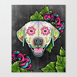 Labrador Retriever - Yellow Lab - Day of the Dead Sugar Skull Dog Canvas Print