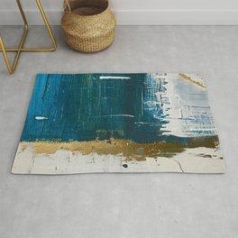 Rain [3]: a minimal, abstract mixed-media piece in blues, white, and gold by Alyssa Hamilton Art Rug