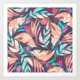 Tropical Exotic Flowers Hand Drawn Style Art Print
