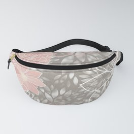 Floral Pattern Dahlias, Blush Pink, Gray, White Fanny Pack