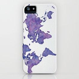 Purple World Map 02 iPhone Case