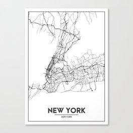 Minimal City Maps - Map Of New York, United States Canvas Print
