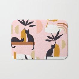 Minimal Cats and Nature Pattern 2 Pink Bath Mat
