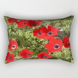 Wild Anemone Flowers In A Spring Field Rectangular Pillow