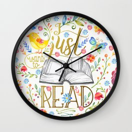 I Just Want To Read - White Floral Wall Clock
