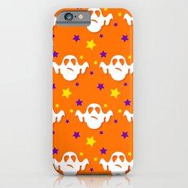 Halloween Goofy Ghosts on Bright Orange Background iPhone Case