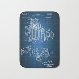 Blueprint antique camera Bath Mat