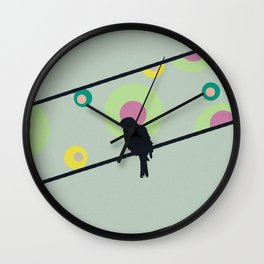 Bird on wire and dots Wall Clock
