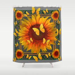 GREY KANSAS YELLOW  SUNFLOWERS BUTTERFLY DECO Shower Curtain