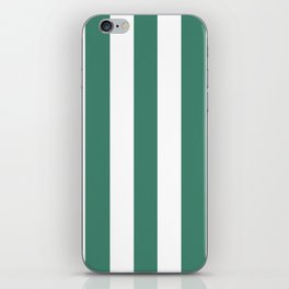 Viridian blue - solid color - white vertical lines pattern iPhone Skin