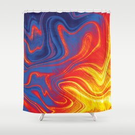 Fire and Ice Swirl Marble (Red, Orange, Blue) Shower Curtain