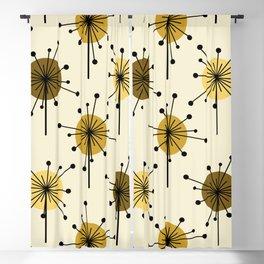 Atomic Era Sputnik Starburst Flowers Light Yellow Blackout Curtain