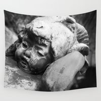 headdress Wall Tapestries featuring Cherub with Headdress by C. Wie Design