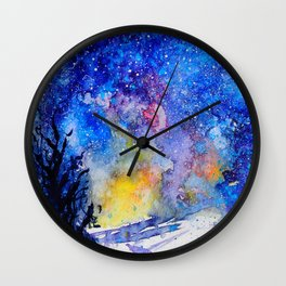 Midnight Galaxy Road watercolour by CheyAnne Sexton Wall Clock