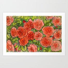 Roses Garden Vintage Floral Summer Flowers Green Red  Art Print