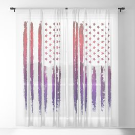 Red & blue gradient USA flag Sheer Curtain