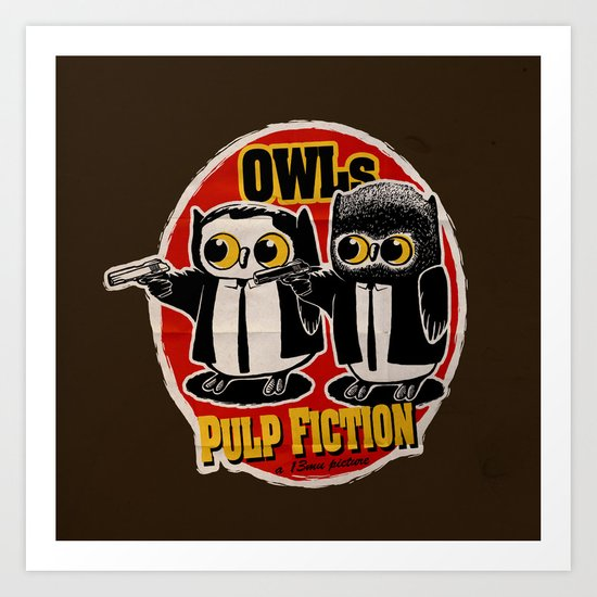 Owls Pulp Fiction Art Print