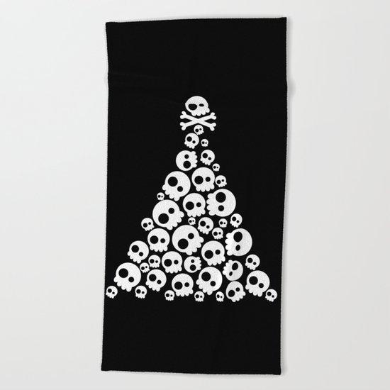 Skulls Christmas Tree Beach Towel