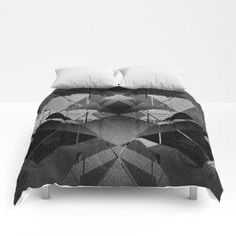 Black Geometry Comforters